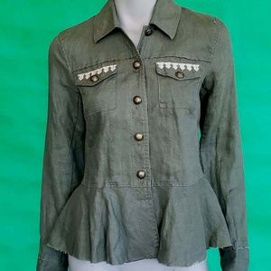 Unique green jeans jacket size S small INC $129